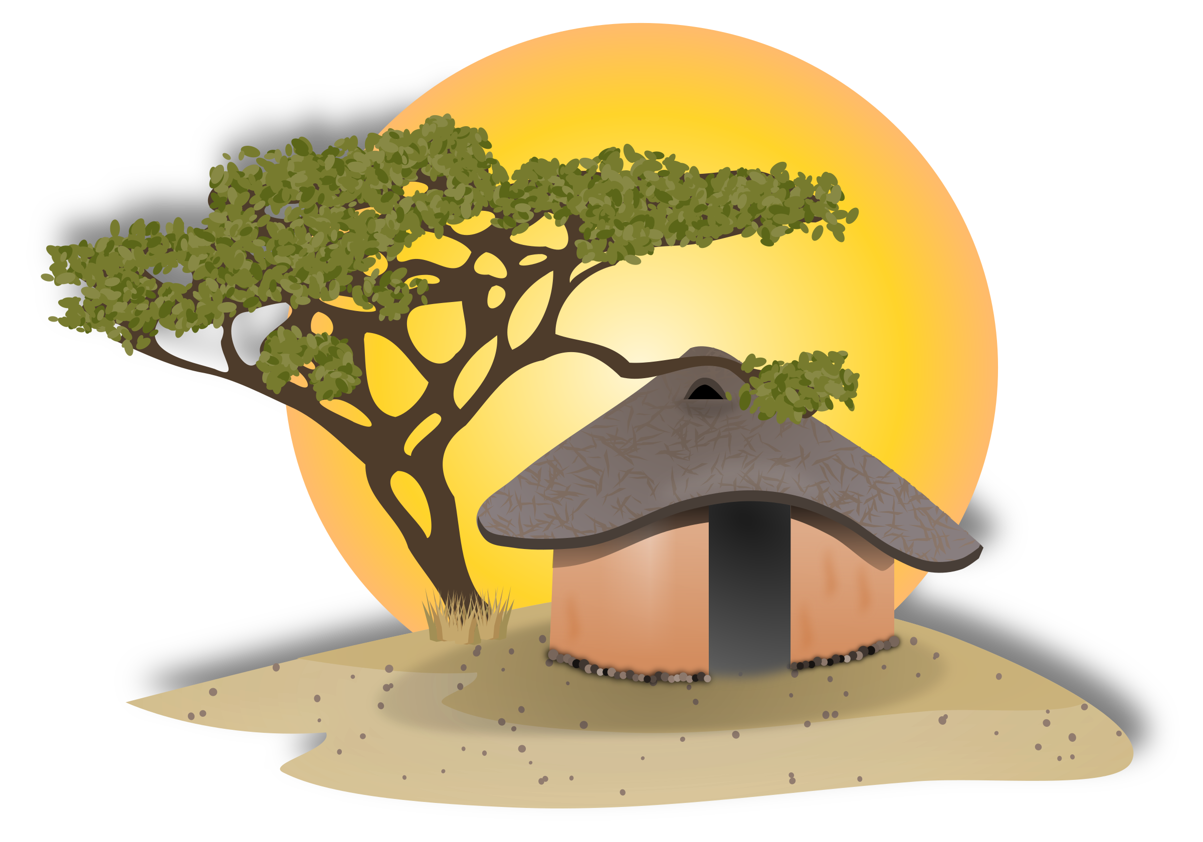 2400x1681 African Hut Icons Png