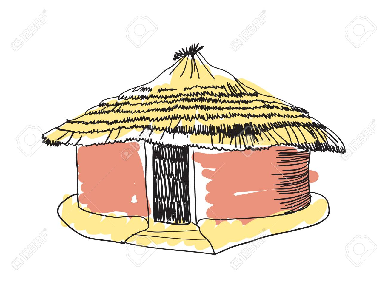 1300x1006 African Tribal Hut Hand Drawn Icon Royalty Free Cliparts, Vectors