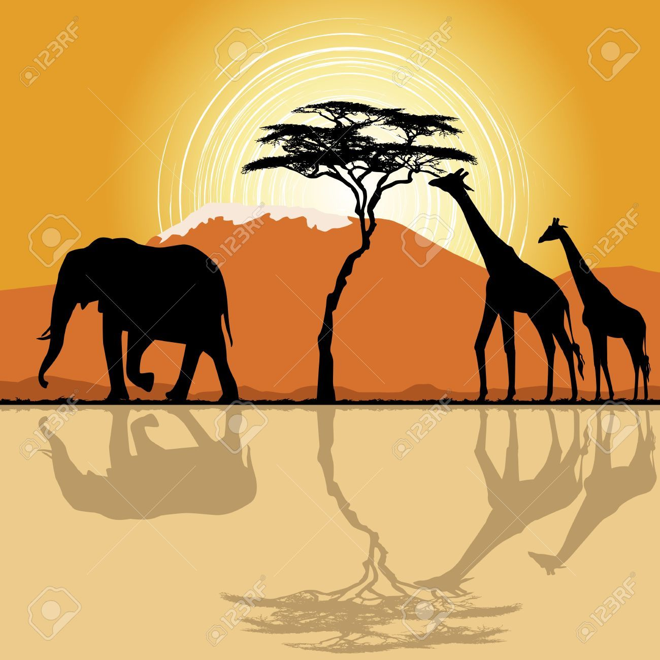 1300x1300 The African Landscape And The Elephant Ile