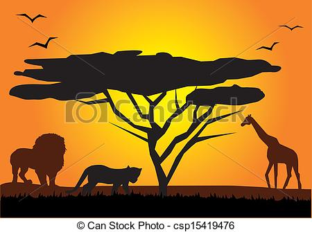 450x335 Vector African Landscape With Animals Vectors Illustration