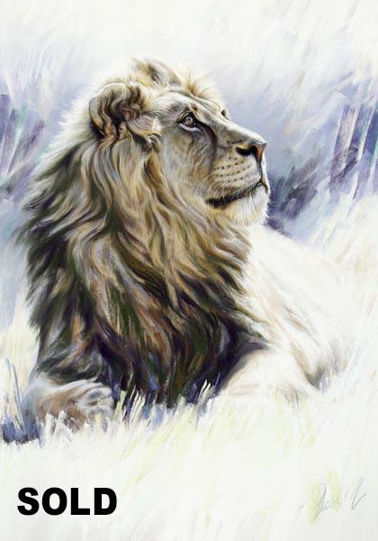 420x600 Morvell Australian Wildlife Artist African Lion Pastel Painting