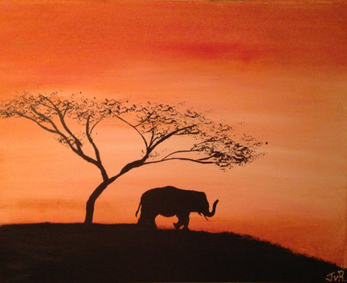 500x408 African Safari Acacia Tree Elephant Animal By Icanpaintanything