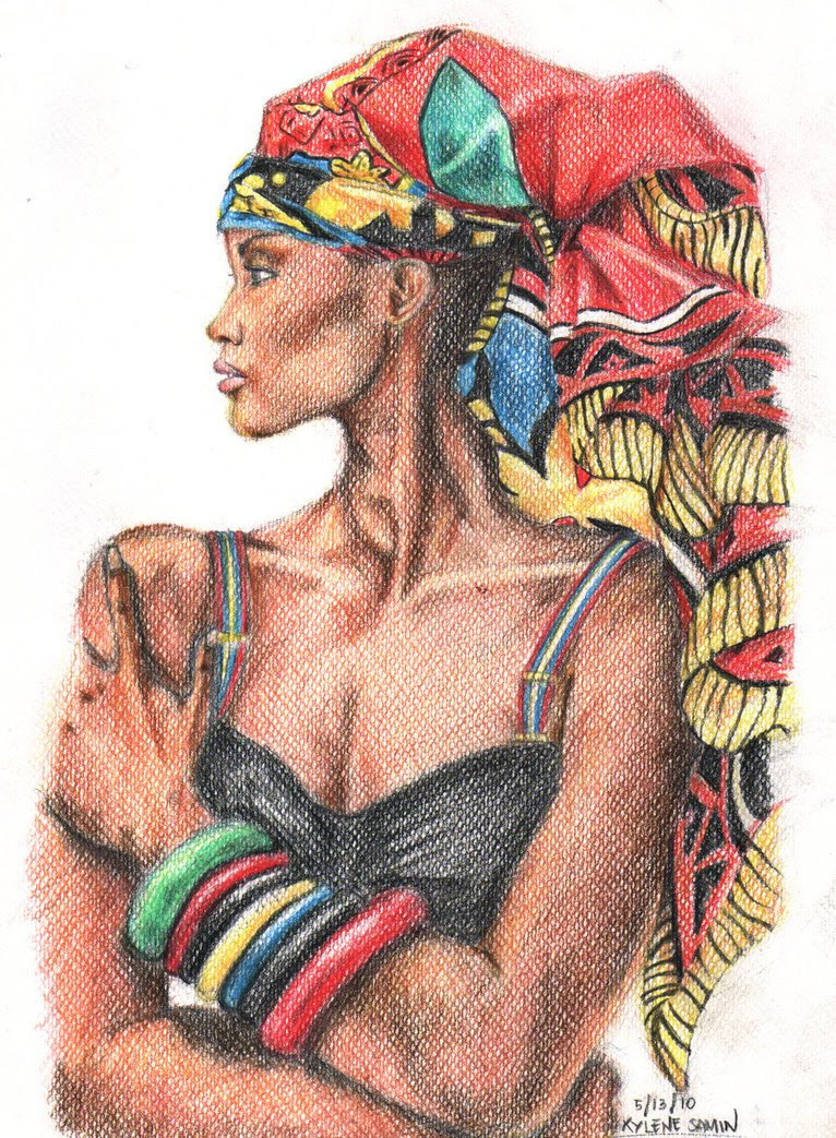 766x1043 African American Woman Drawing Inspired By African Style