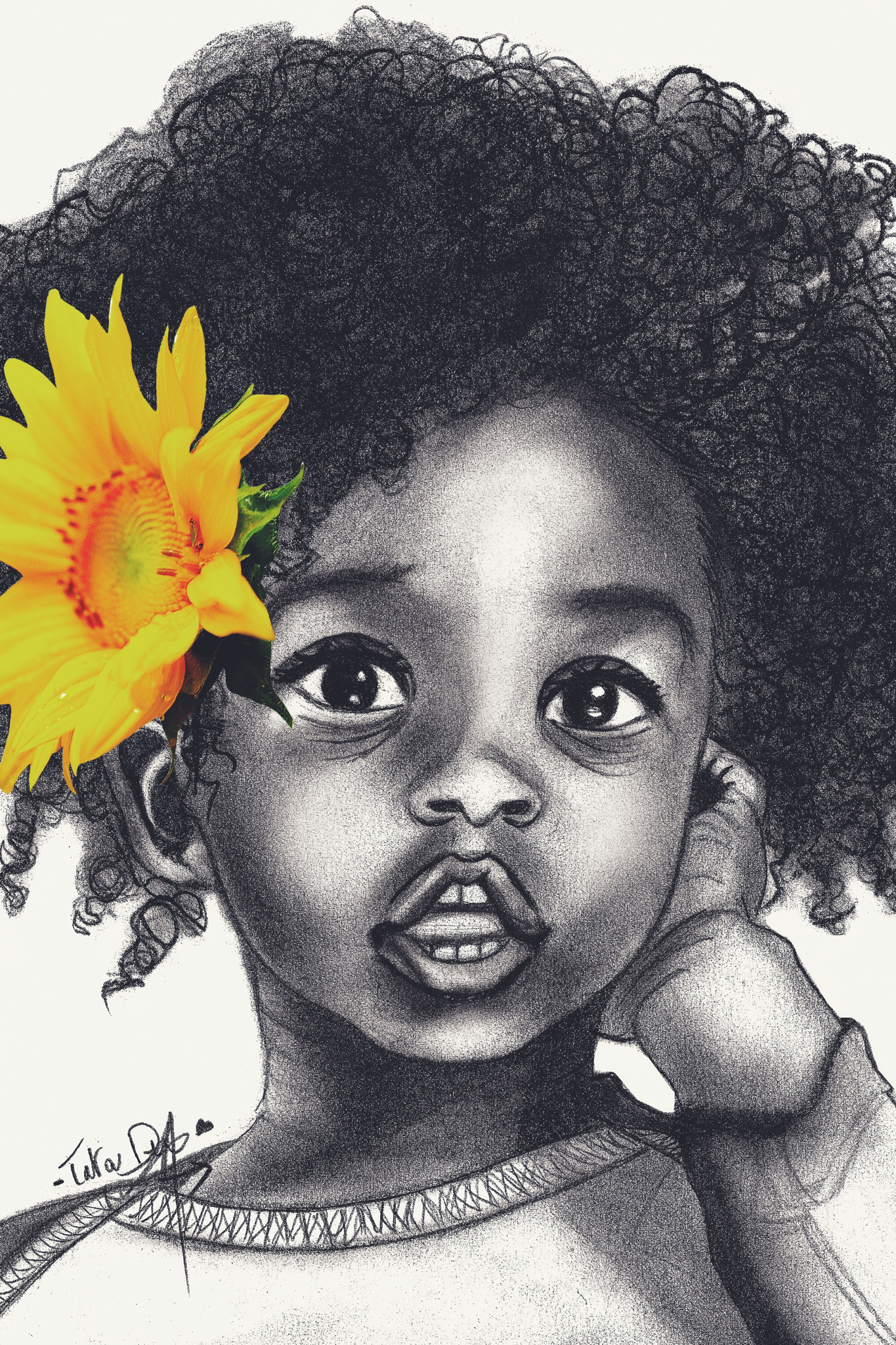 1365x2048 Drawing By Cute Afro Baby Girl Black Art Rock'S
