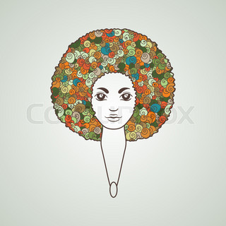 320x320 Afro Hair Isolated. Traditional African American Hairstyle