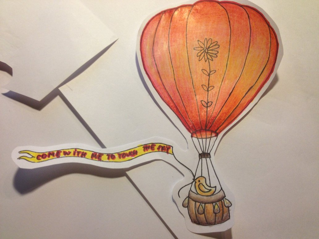 1032x774 Hot Air Balloon Color Pencil Drawing By Greeneyedjax