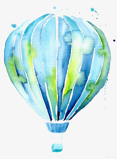 500x675 Hot Air Balloon, Drawing Hot Air Balloon, Hand Painted, Blue Png