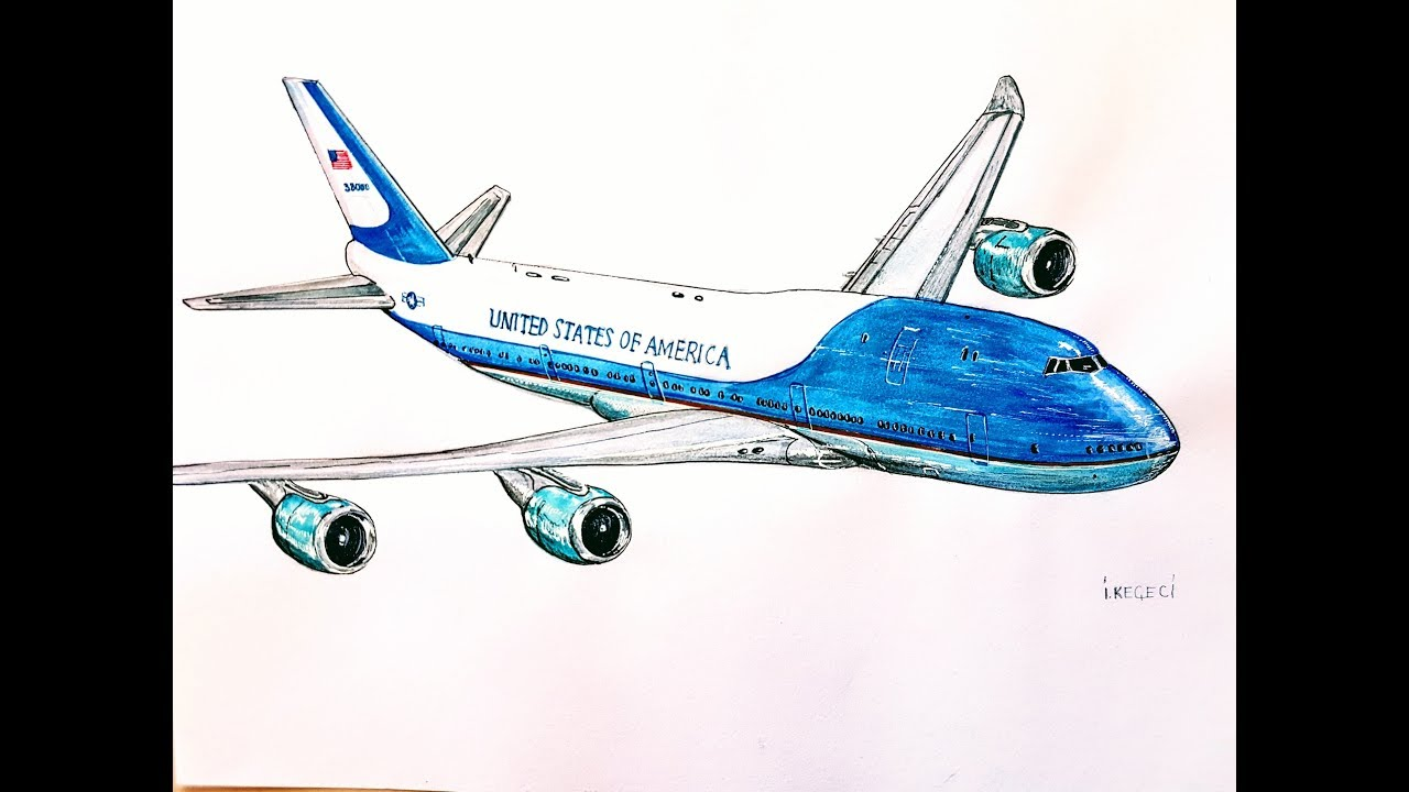 1280x720 Air Force One, Boeing 747,drawing Timelapse