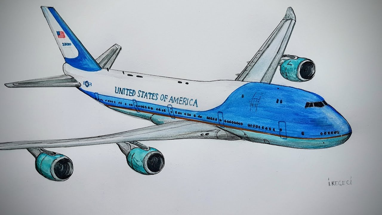 1280x720 Air Force One, Boeing 747,drawing Timelapse Airplane Photos