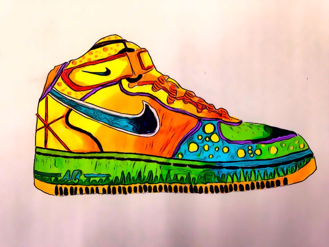 1136x852 Nike Air Force One's Designed Using Pens And Pencils And Edited