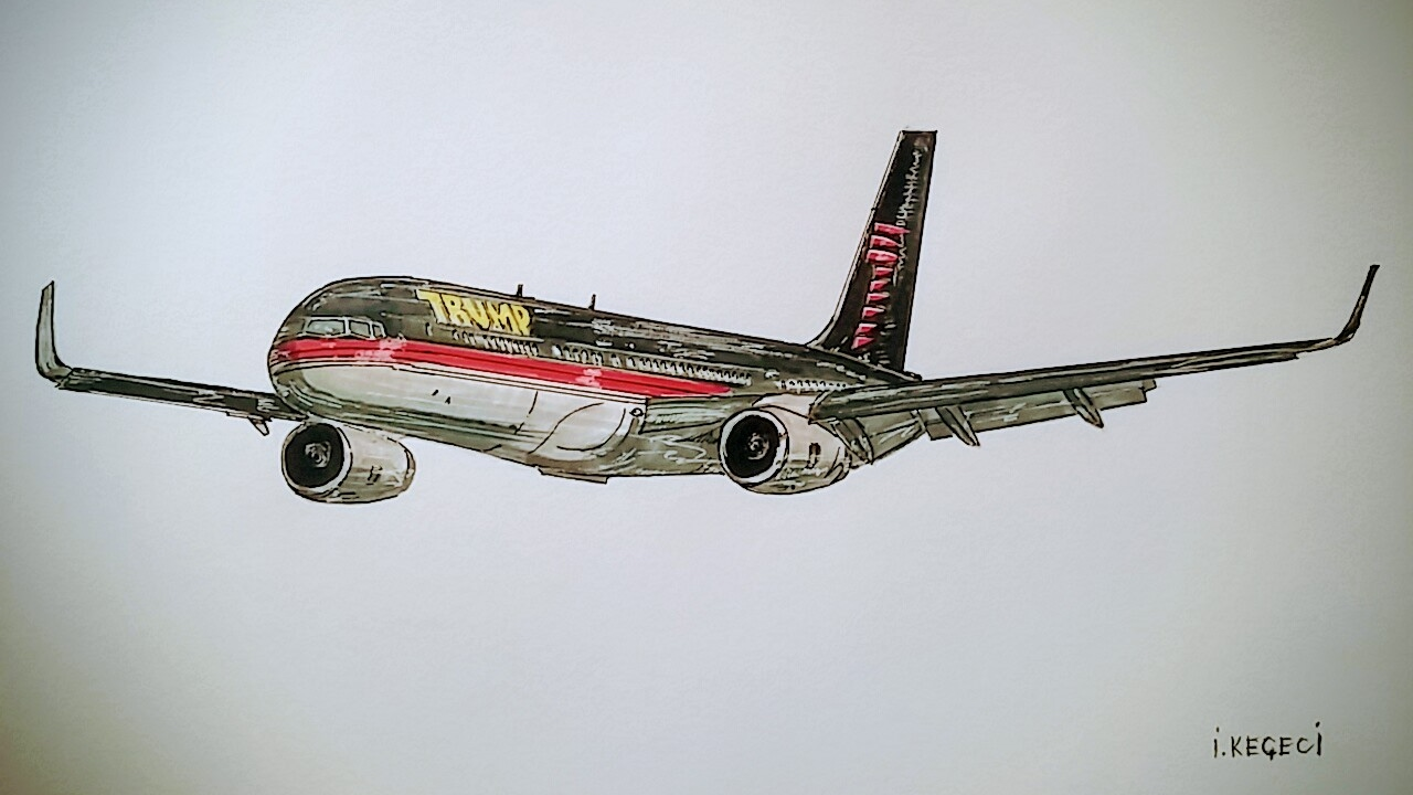 1280x720 Trump Force One, Boeing 757, Drrawing Timelapse