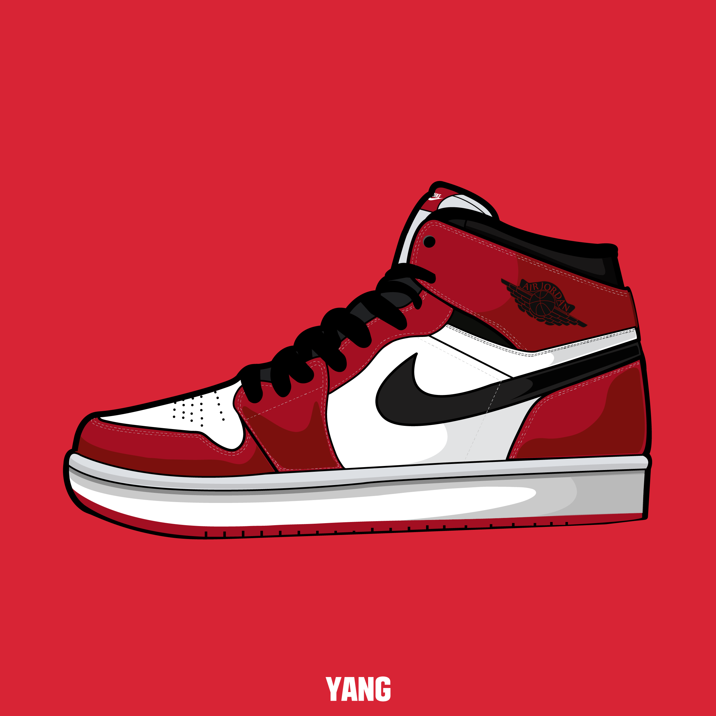 This is an image of Divine Off White Air Jordan 1 Chicago Drawing