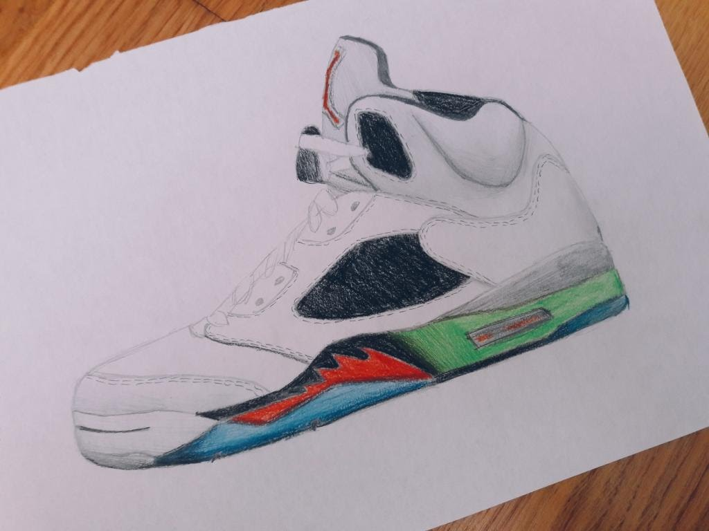 1024x768 Air Jordan 5 Drawing