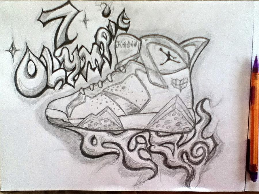 900x675 Air Jordan 7 Drawing By Alexander Wood