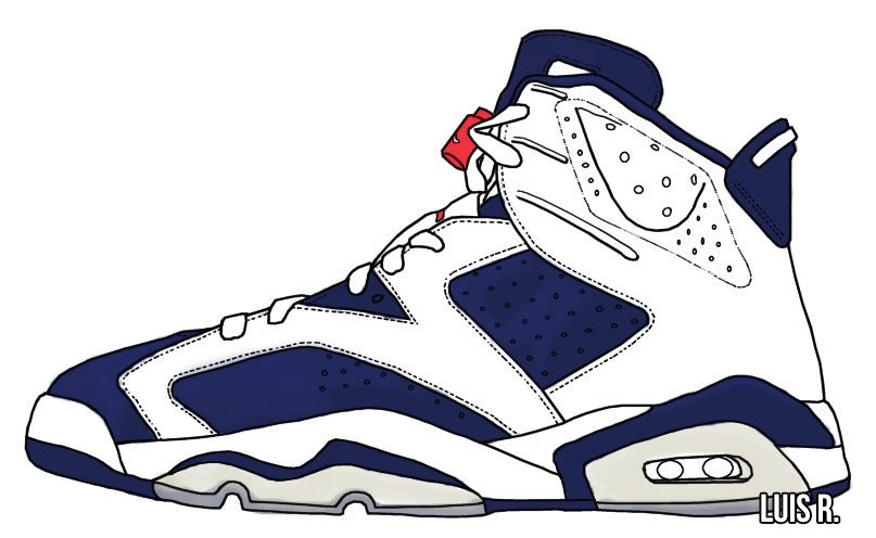 807x496 Drawing Of The Back Of Jordan Retro 6 Model Aviation