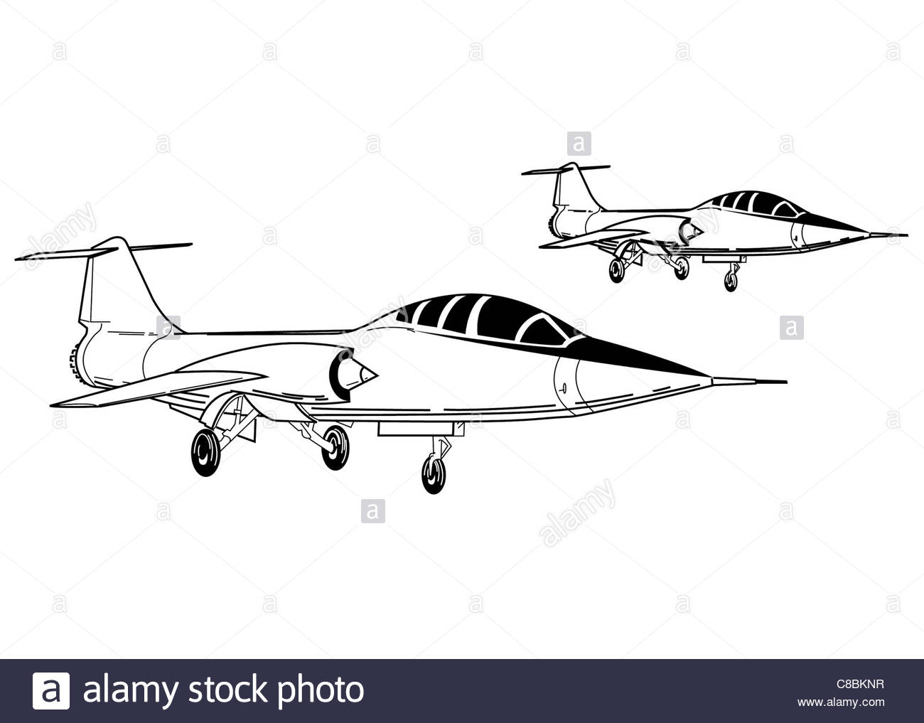 1300x1017 3 View Aircraft Line Art Drawing F 104 Starfighter Stock Photo