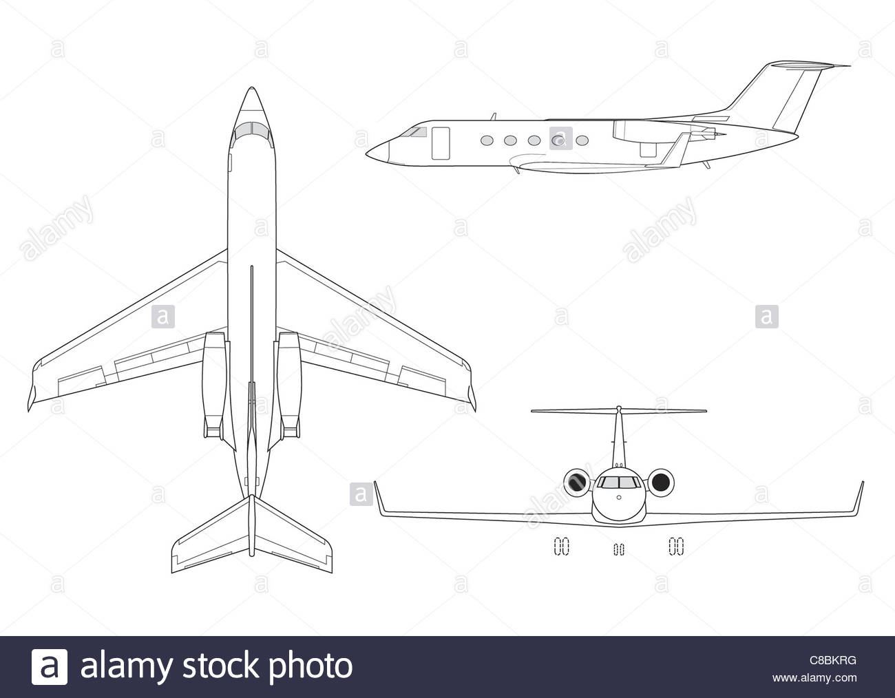 1300x1014 3 View Aircraft Line Art Drawing Gulfstream Iii Stock Photo