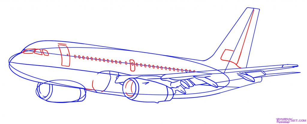 1024x416 Drawing Of An Airplane Draw A Plane Real Easy