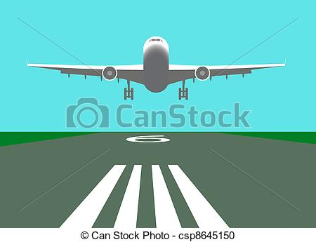 450x345 Landing Airplane Vector Illustration Vector Clipart