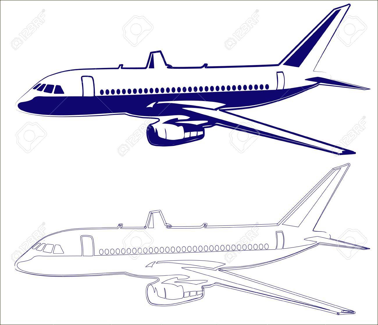1300x1120 Plane Drawing Royalty Free Cliparts, Vectors, And Stock