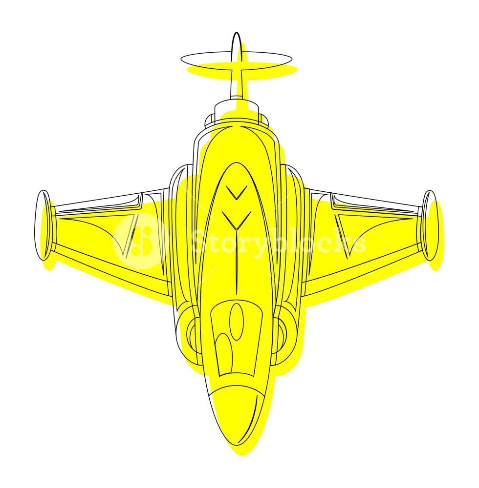 980x1000 Yellow Fighter Plane Drawing Royalty Free Stock Image