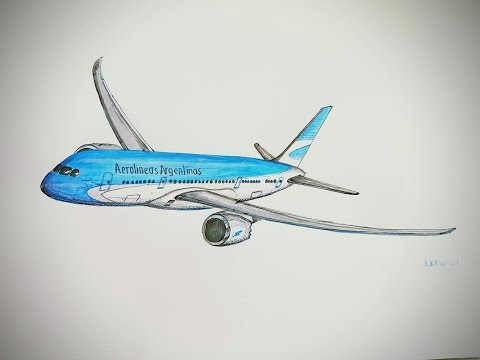 480x360 Youtube Plane Drawing Timelapse Boeing 787 800