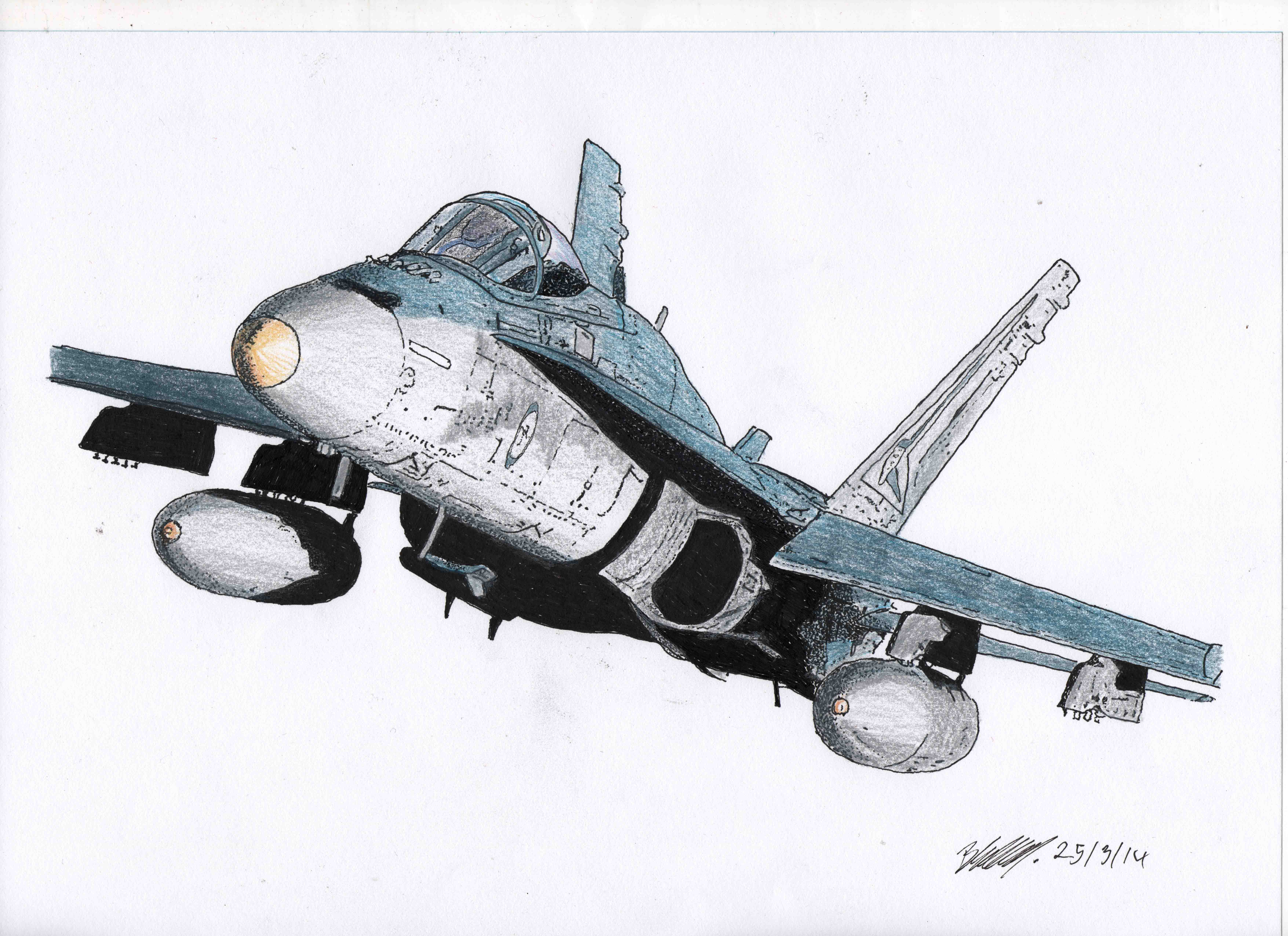 7020x5100 A Pen Amp Ink And Pencil Drawing Of An Fa 18a Hornet From The Raaf