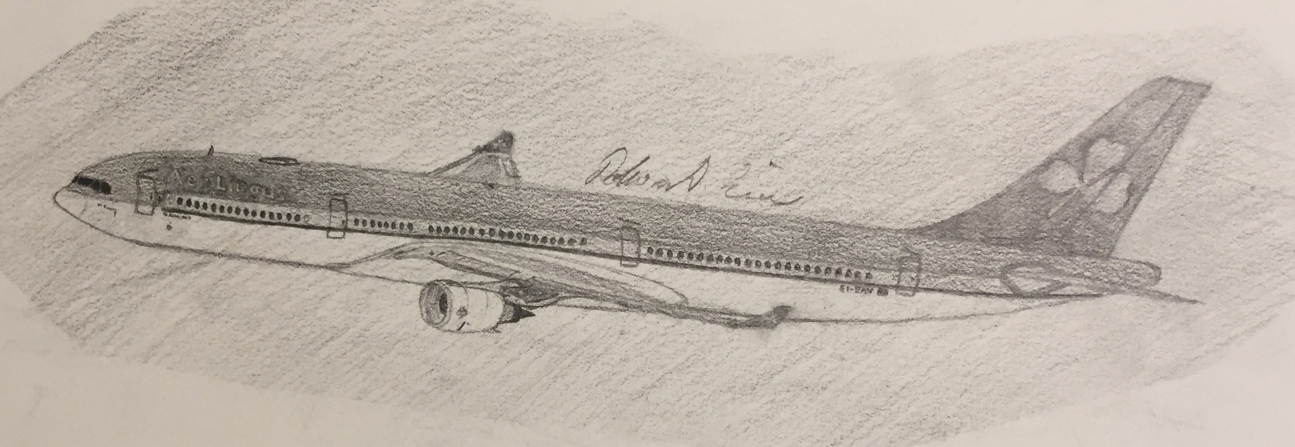 2620x905 All Pencil Of An Aer Lingus Airbus A330 303 Aircraft Drawings