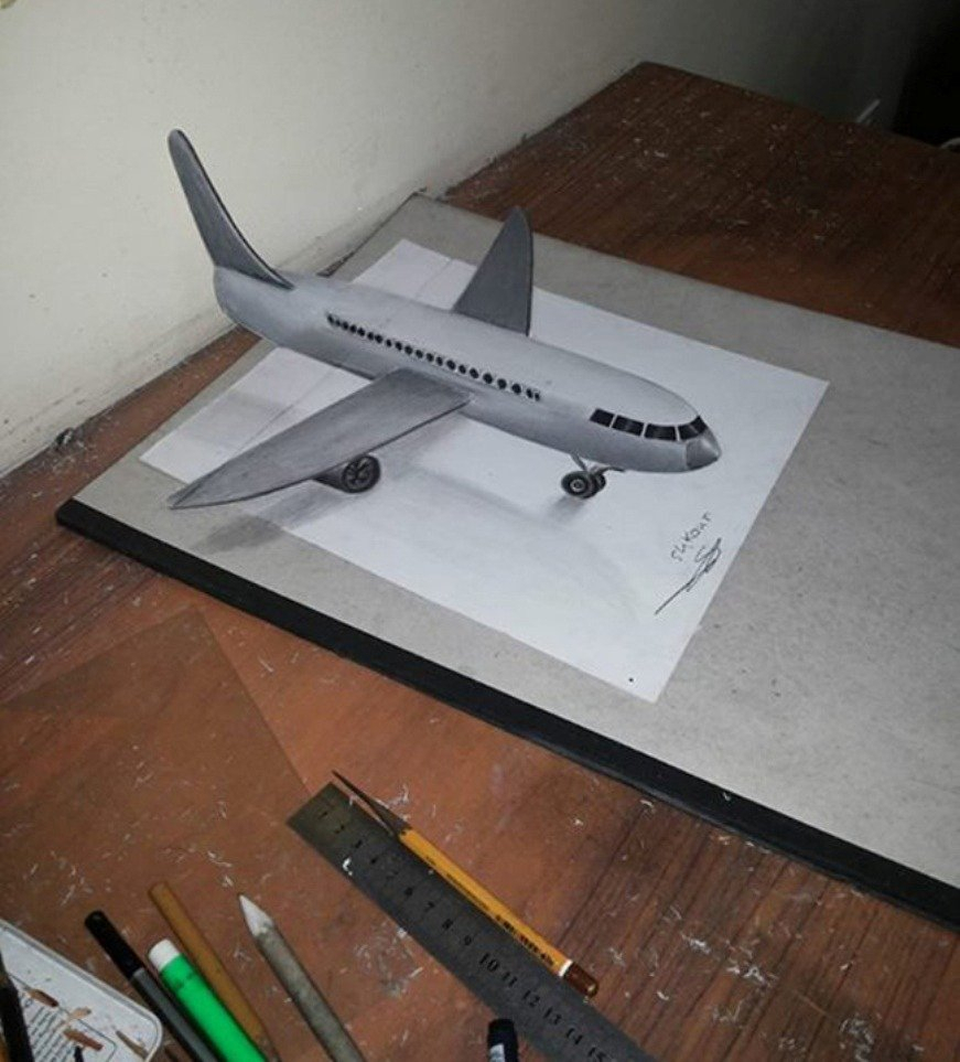 871x963 Pencils Sketch Of 3d Airplane 3d Pencil Drawings
