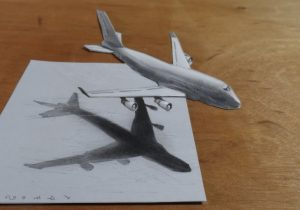 300x210 Pencils Sketch Of 3d Airplane Airplane 3d Pencil Drawing
