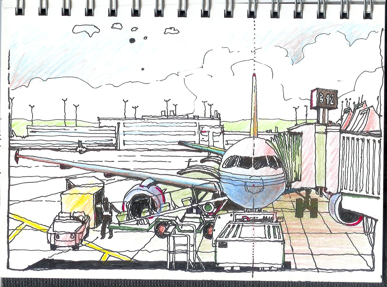 1249x927 Drawing Of Airport