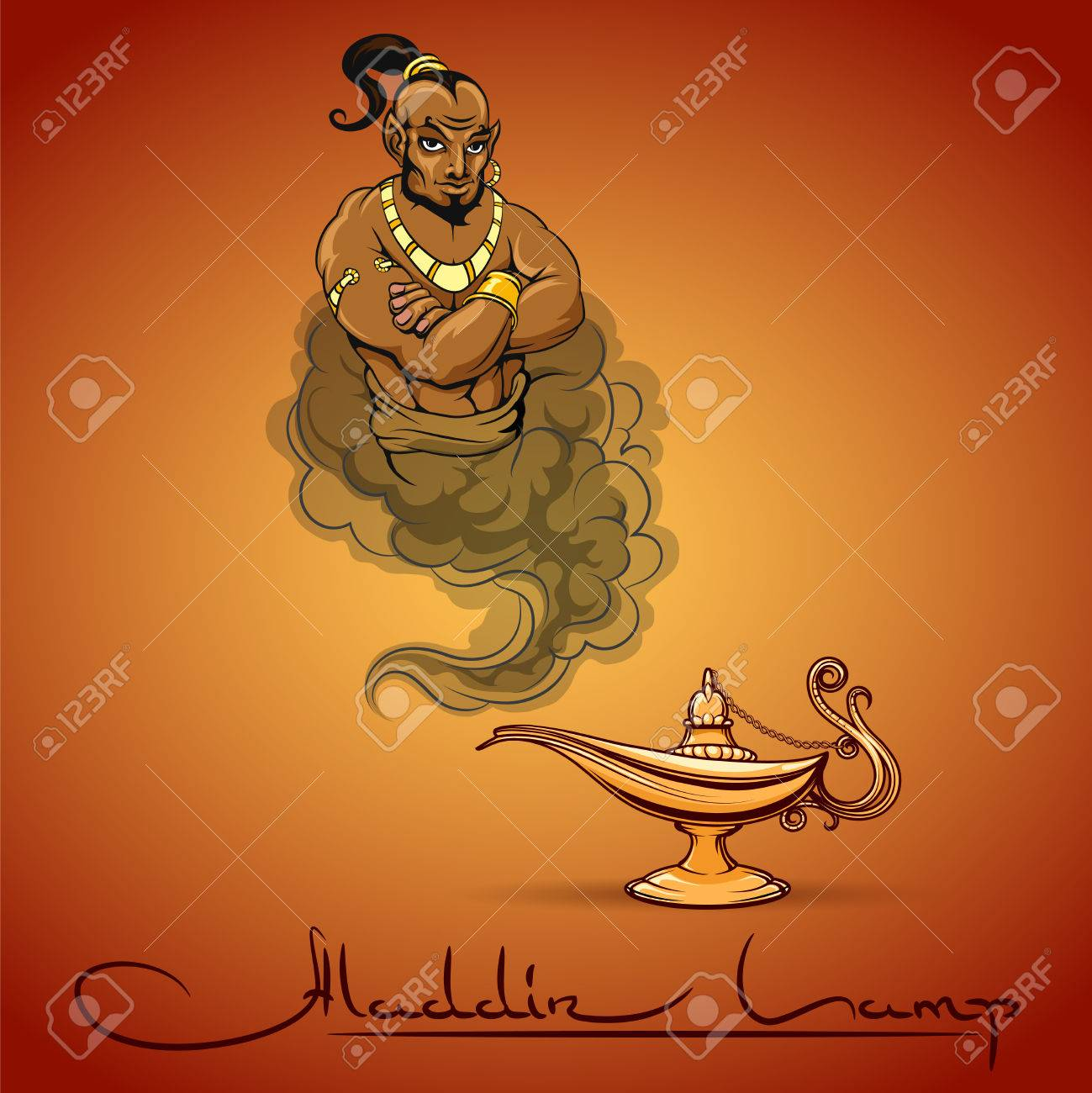1299x1300 Oriental Tale Illustration Of Genie Aladdin Lamp And Text. Vector