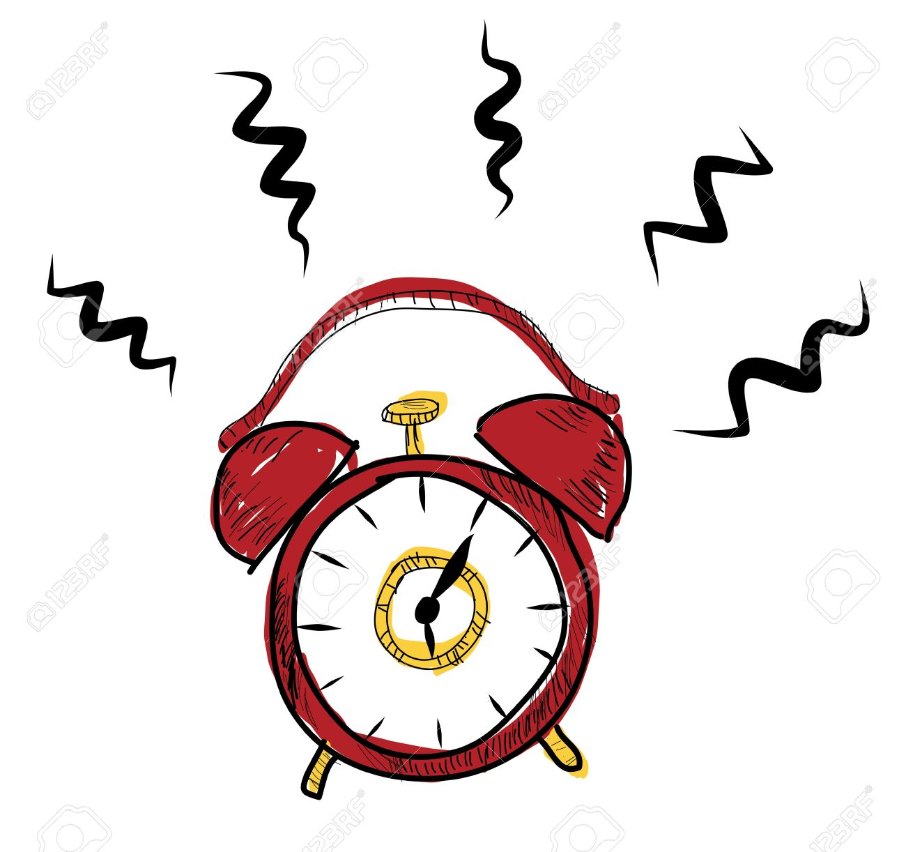1300x1222 Drawing Classic Alarm Clock Stock Photo, Picture And Royalty Free
