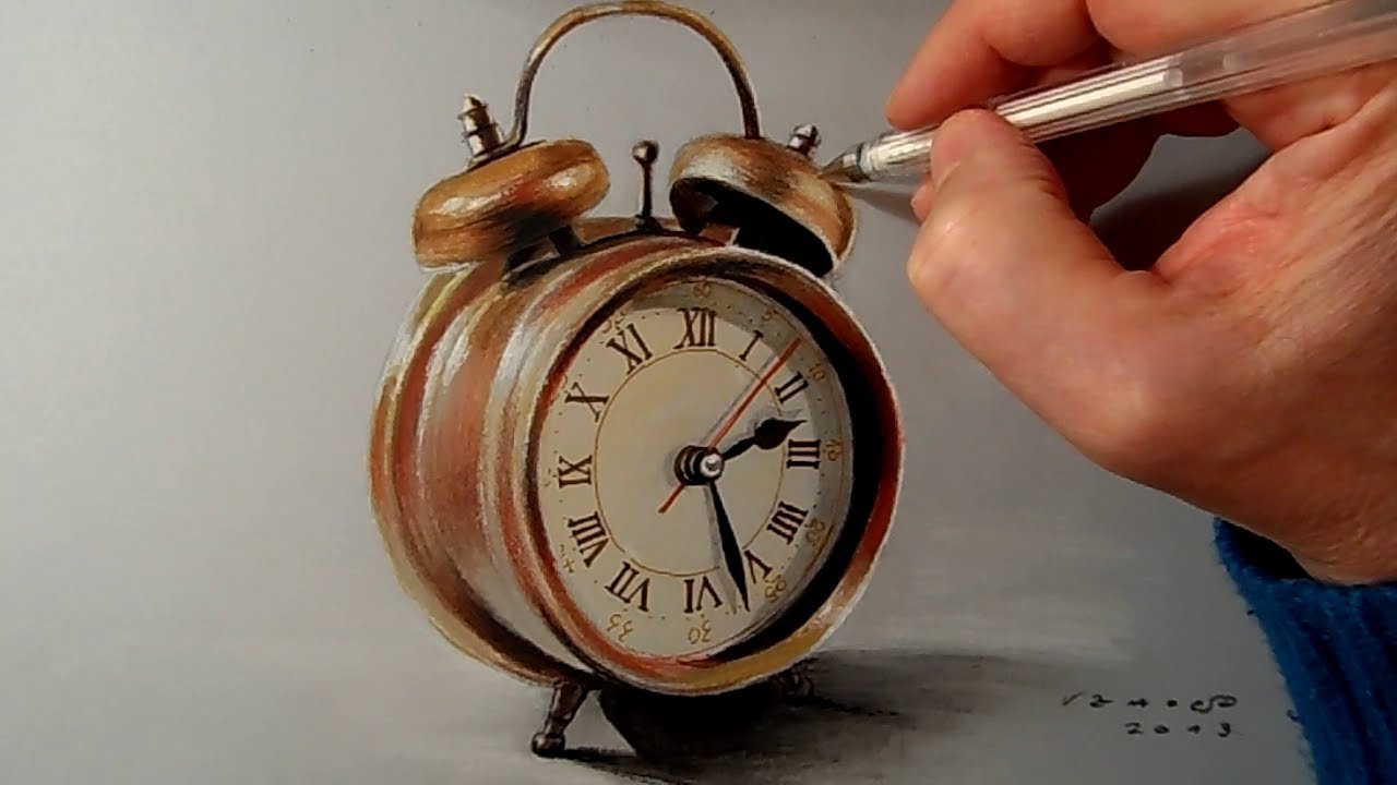 1280x720 Drawing A Realistic Alarm Clock, Time Lapse