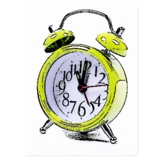 540x540 Time To Wake Up Yellow Alarm Clock Drawing Postcard