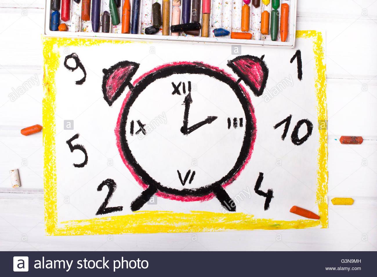 1300x956 Colorful Drawing Alarm Clock Stock Photo 105574801