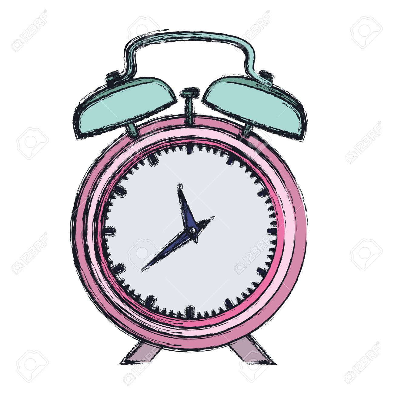 1300x1300 Hand Drawing Color Pink Alarm Clock And Thick Contour Vector