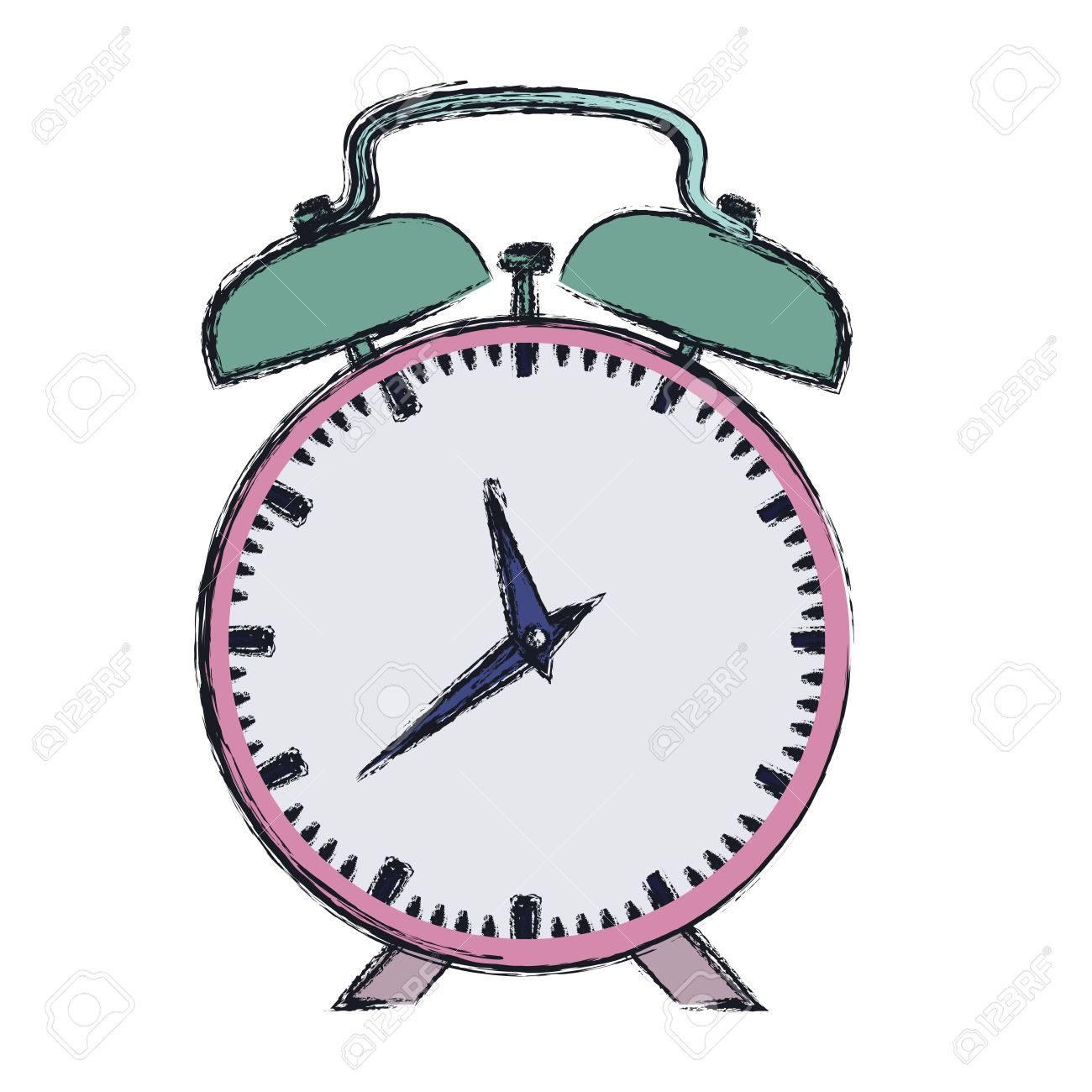 1300x1300 Hand Drawing Color Pink Alarm Clock Vector Illustration Royalty