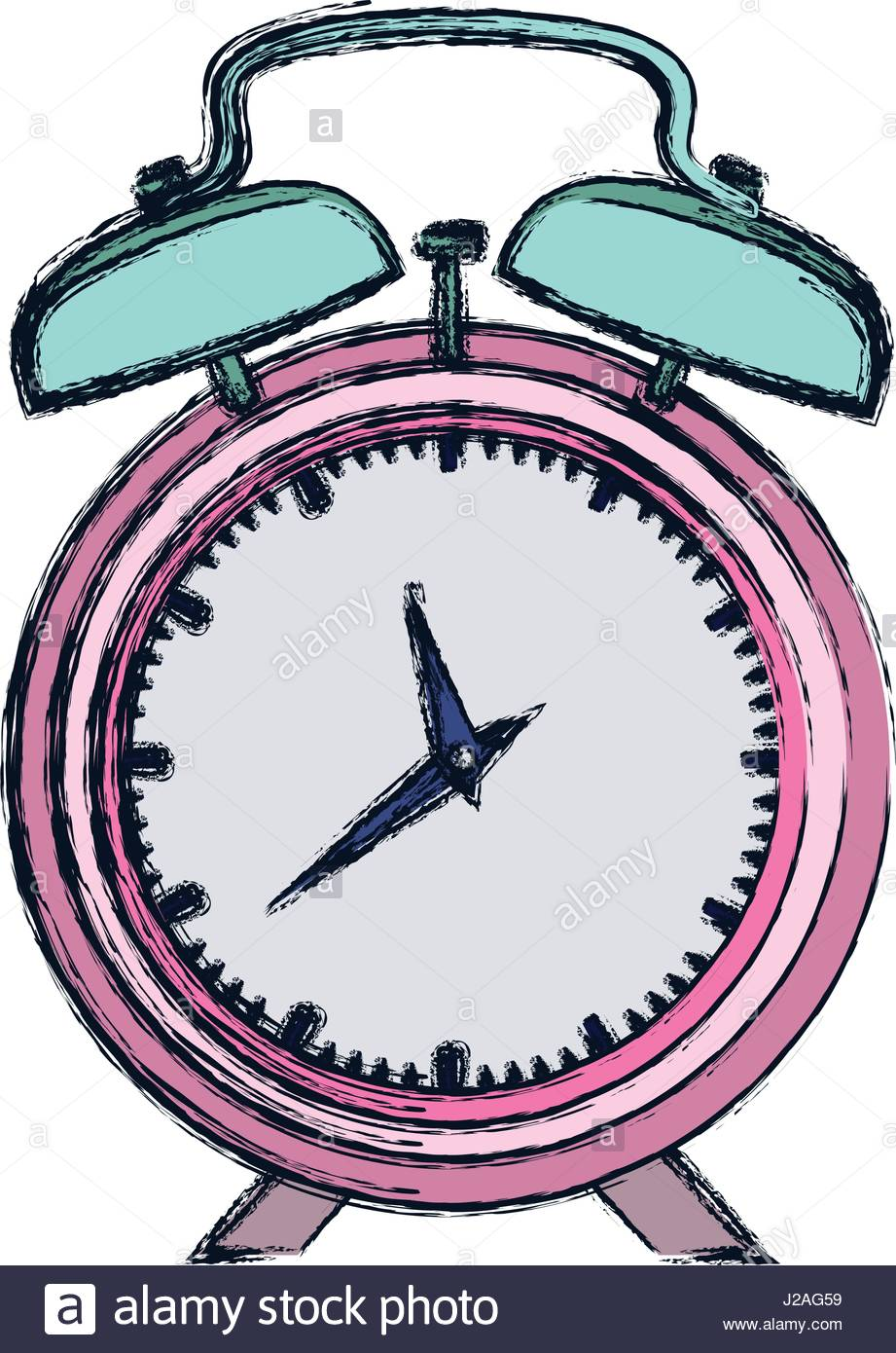 921x1390 Hand Drawing Color Pink Alarm Clock And Thick Contour Stock Vector
