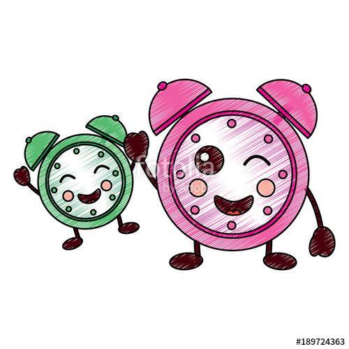 500x500 Kawaii Cartoon Sleep Clock Alarm Character Vector Illustration