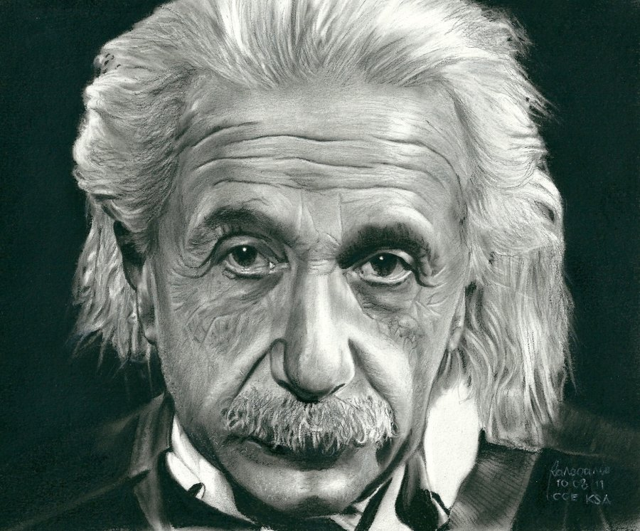 900x746 Albert Einstein Charcoal And Pencil By Rodelrosario