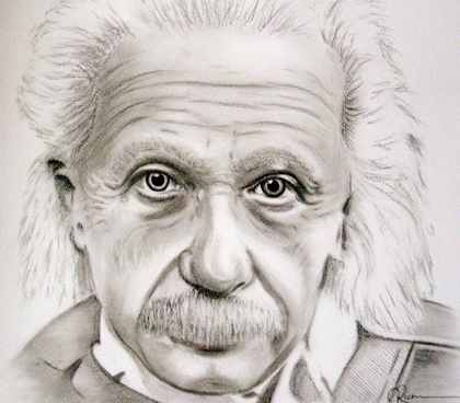420x368 Albert Einstein Charcoal Pencil Portrait A Black