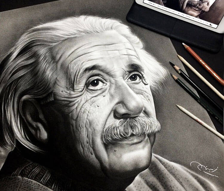 750x640 Albert Einstein Drawing By Ayman Arts No. 1705