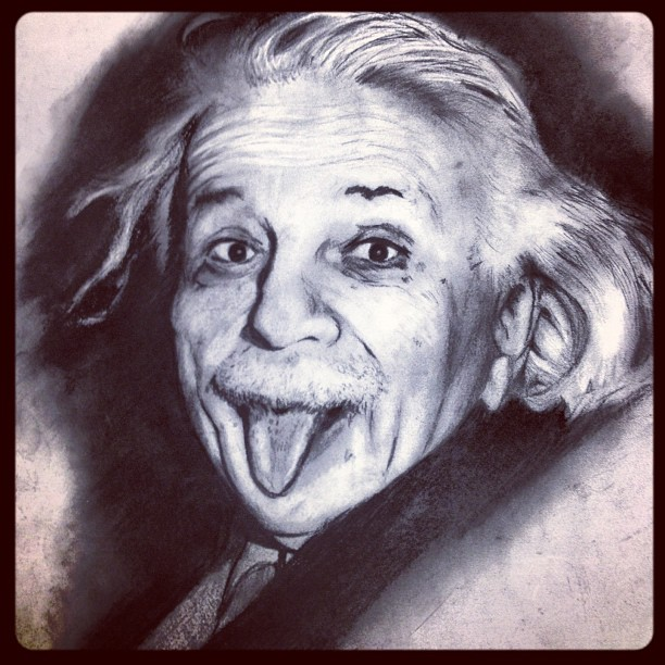 612x612 Albert Einstein Drawing By Winstonwilliams