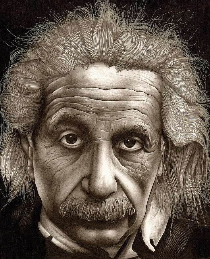 731x900 Albert Einstein Millenium Man Drawing By Lee Appleby