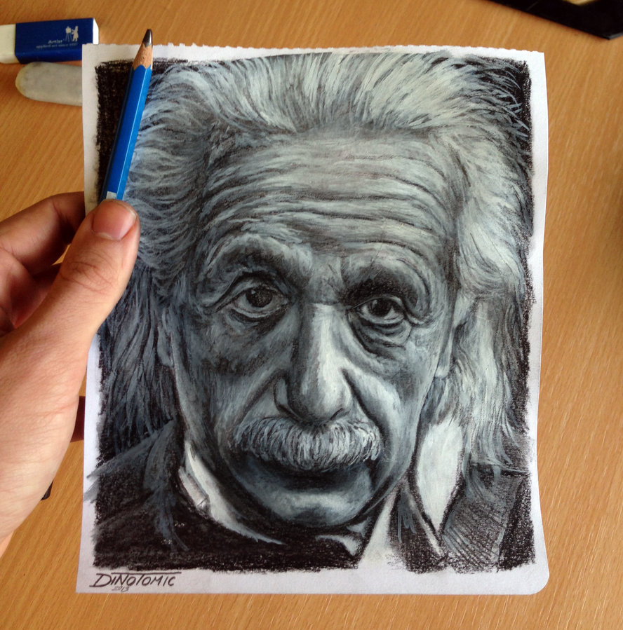 888x899 Albert Einstein Pencil Drawing ( Pocket Size ) By Atomiccircus