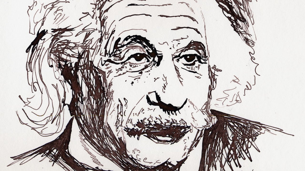 1280x720 Drawing With Ink Albert Einstein