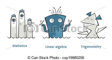450x243 Set Of Math Monsters. Vector Math Monsters Linear Algebra