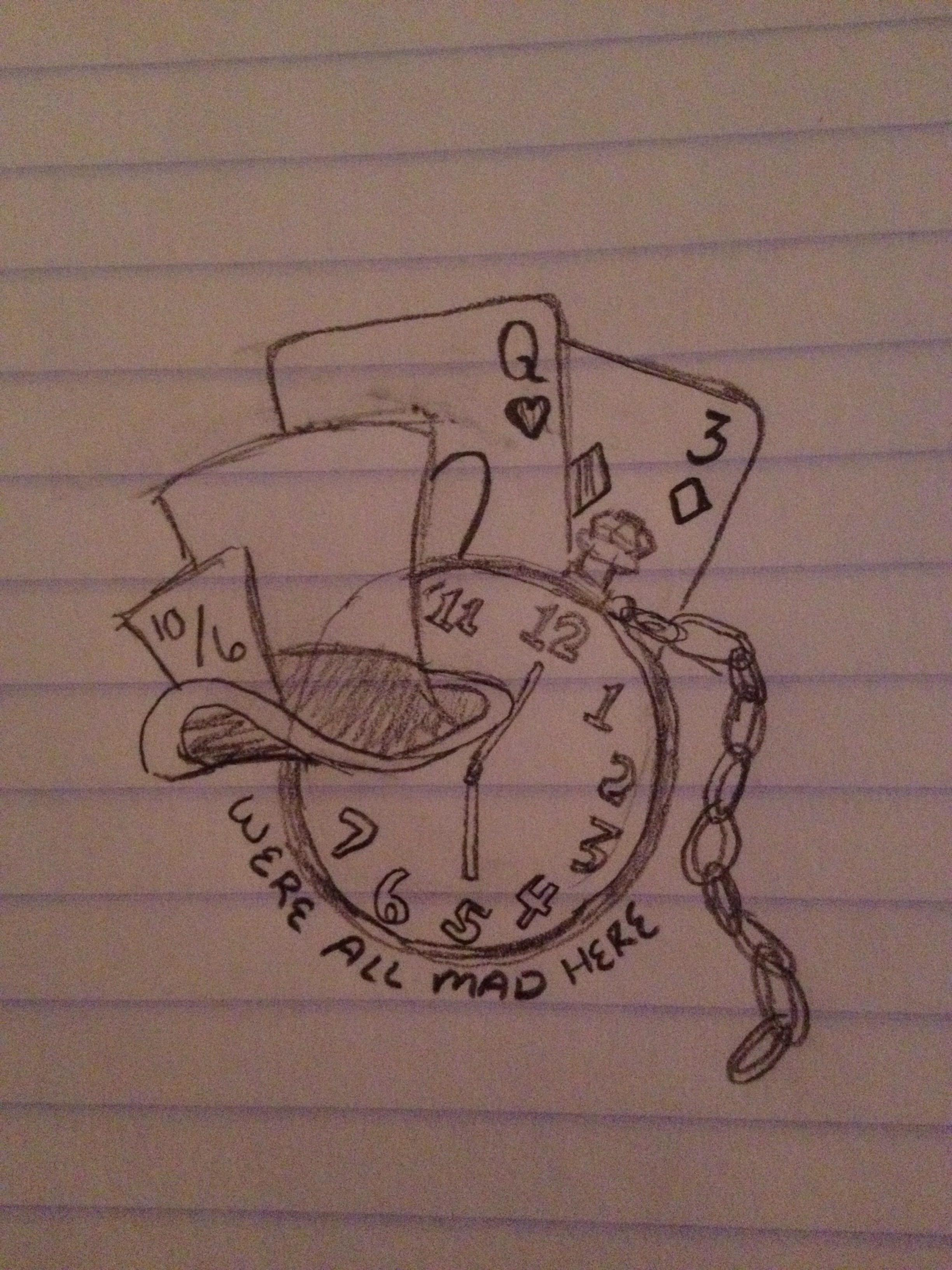 2448x3264 Alice And Wonderland Drawings Alice In Wonderland Tattoo (Drawings