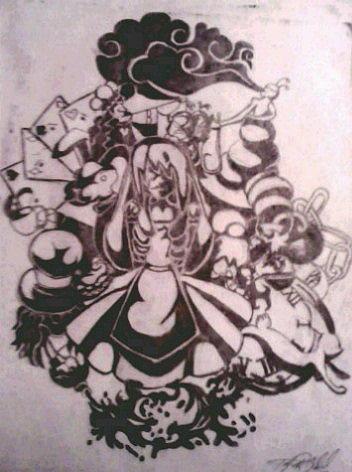 352x472 Alice In Wonderland Drawing By Taylor Gabriel